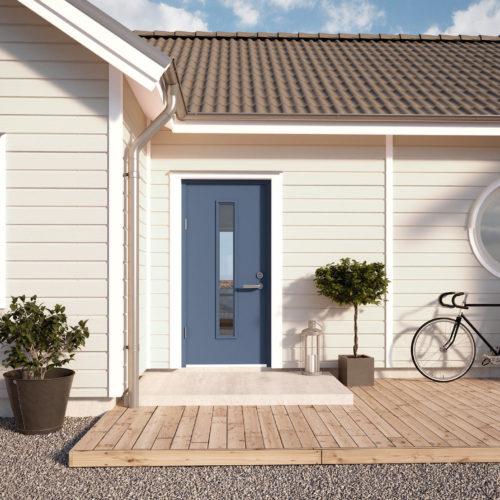 Myresjöhus vitt trähus blå dörr
